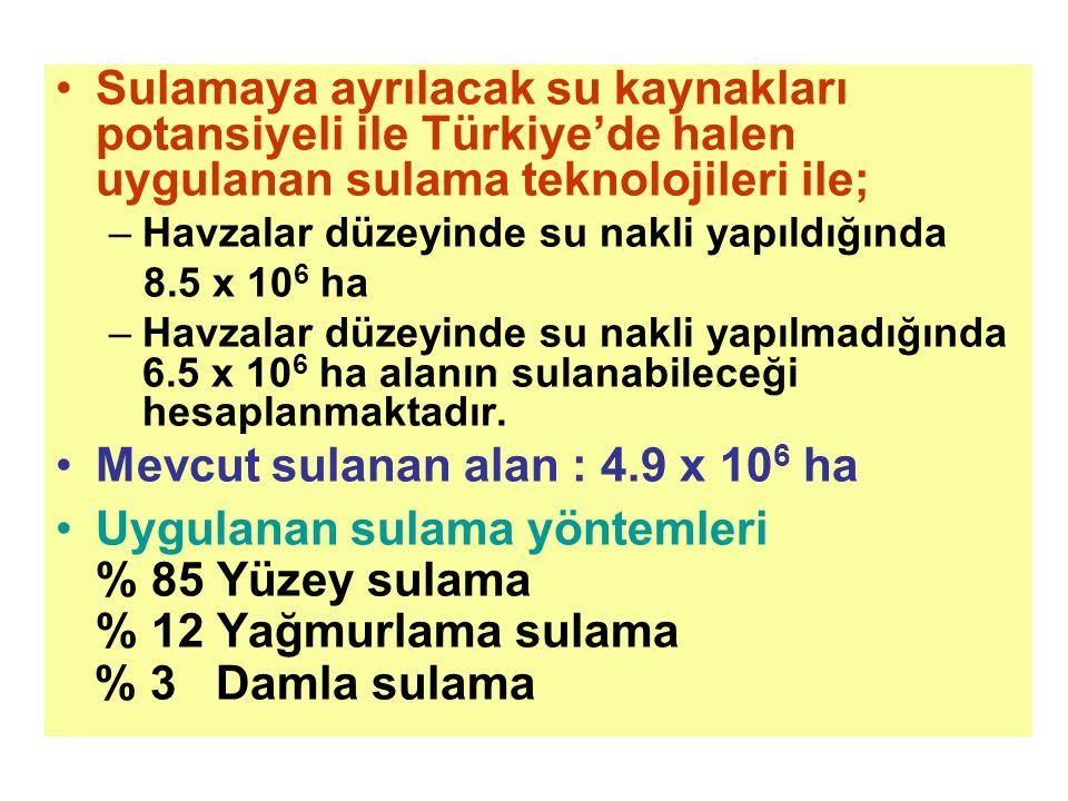 Sulamaya ayrılacak su kaynakları potansiyeli ile Türkiye'de halen uygulanan sulama teknolojileri ile; –Havzalar düzeyinde su nakli yapıldığında 8.5 x