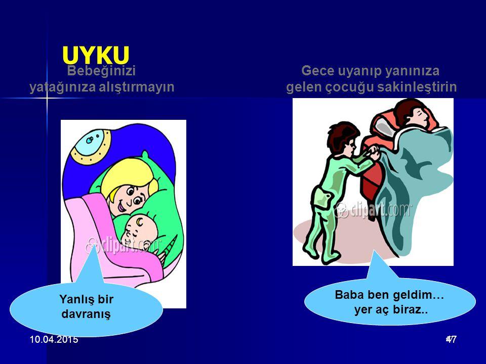 47 10.04.201547 UYKU Gece uyanıp yanınıza gelen çocuğu sakinleştirin Bebeğinizi yatağınıza alıştırmayın Baba ben geldim… yer aç biraz.. Yanlış bir dav