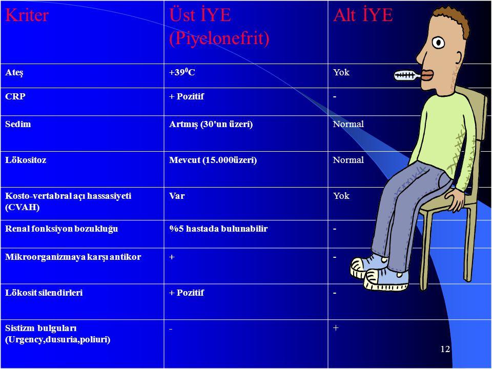 12 KriterÜst İYE (Piyelonefrit) Alt İYE Ateş+39 0 CYok CRP+ Pozitif- SedimArtmış (30'un üzeri)Normal LökositozMevcut (15.000üzeri)Normal Kosto-vertabr