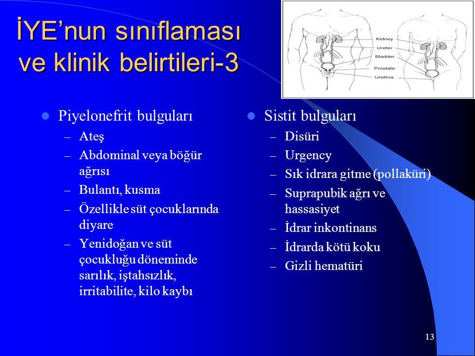 13 İYE'nun sınıflaması ve klinik belirtileri-3 Piyelonefrit bulguları – Ateş – Abdominal veya böğür ağrısı – Bulantı, kusma – Özellikle süt çocukların