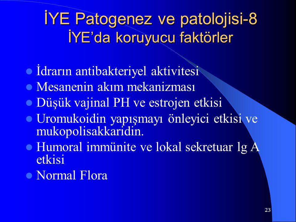 23 İYE Patogenez ve patolojisi-8 İYE'da koruyucu faktörler İdrarın antibakteriyel aktivitesi Mesanenin akım mekanizması Düşük vajinal PH ve estrojen e