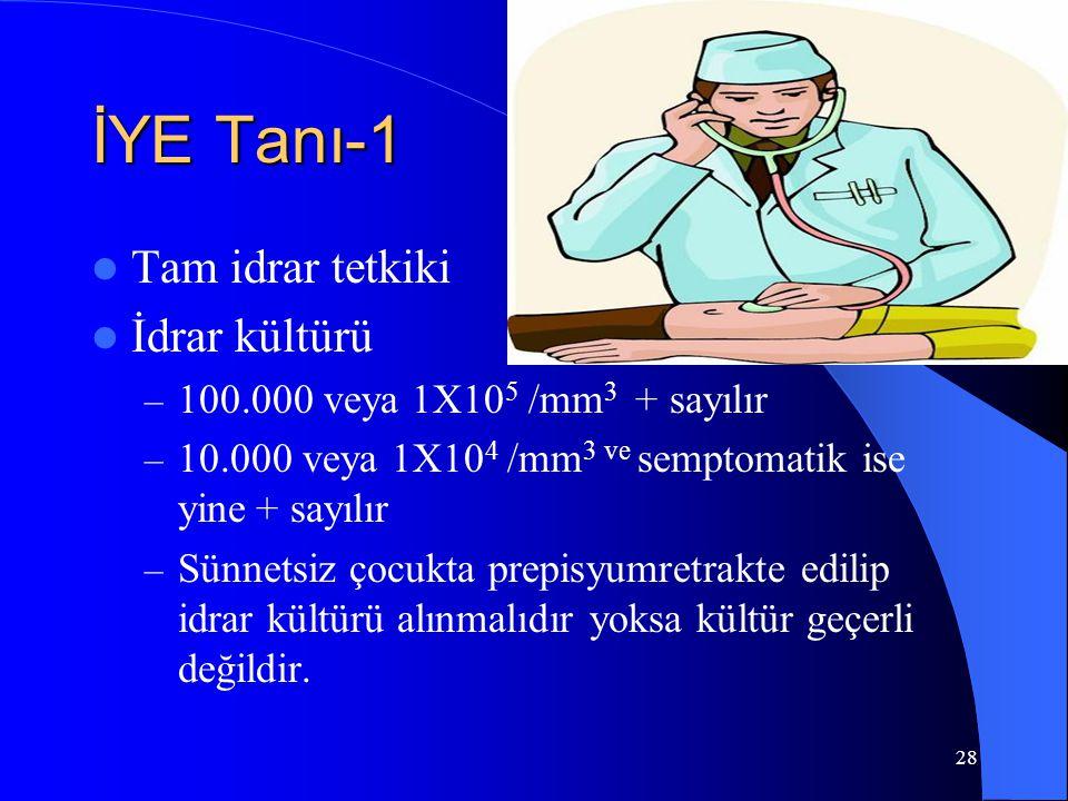 28 İYE Tanı-1 Tam idrar tetkiki İdrar kültürü – 100.000 veya 1X10 5 /mm 3 + sayılır – 10.000 veya 1X10 4 /mm 3 ve semptomatik ise yine + sayılır – Sün