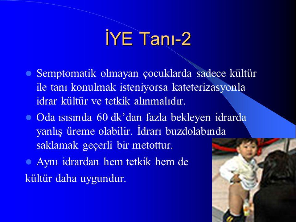 29 İYE Tanı-2 Semptomatik olmayan çocuklarda sadece kültür ile tanı konulmak isteniyorsa kateterizasyonla idrar kültür ve tetkik alınmalıdır. Oda ısıs