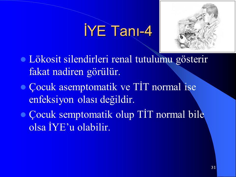 31 İYE Tanı-4 Lökosit silendirleri renal tutulumu gösterir fakat nadiren görülür. Çocuk asemptomatik ve TİT normal ise enfeksiyon olası değildir. Çocu