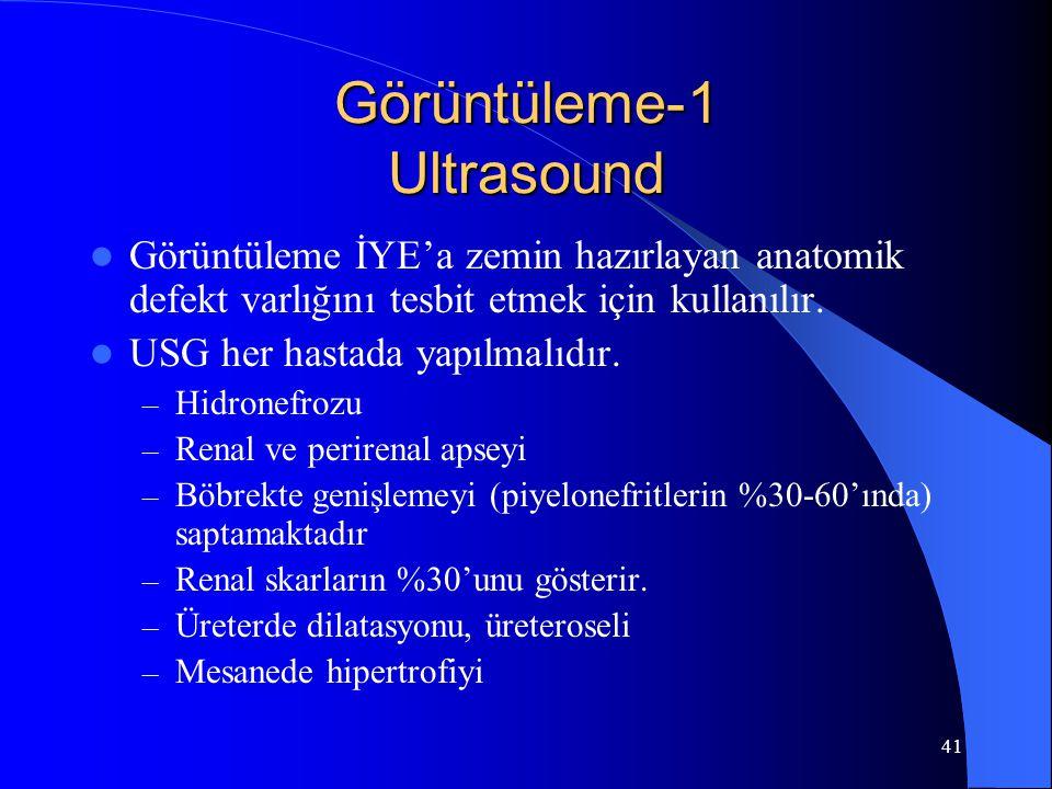 41 Görüntüleme-1 Ultrasound Görüntüleme İYE'a zemin hazırlayan anatomik defekt varlığını tesbit etmek için kullanılır. USG her hastada yapılmalıdır. –