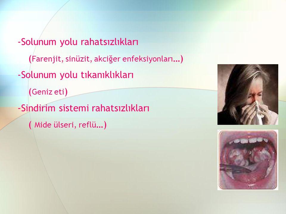 -Solunum yolu rahatsızlıkları ( Farenjit, sinüzit, akciğer enfeksiyonları …) -Solunum yolu tıkanıklıkları ( Geniz eti ) -Sindirim sistemi rahatsızlıkl