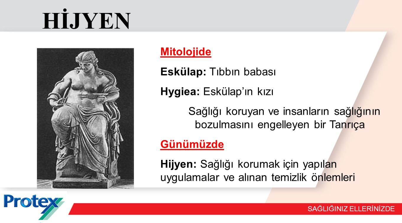 SAĞLIĞINIZ ELLERİNİZDE HİJYEN Mitolojide Eskülap: Tıbbın babası Hygiea: Eskülap'ın kızı Sağlığı koruyan ve insanların sağlığının bozulmasını engelleyen bir Tanrıça Günümüzde Hijyen: Sağlığı korumak için yapılan uygulamalar ve alınan temizlik önlemleri