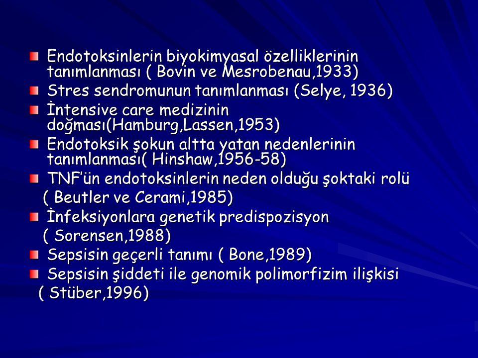 Endotoksinlerin biyokimyasal özelliklerinin tanımlanması ( Bovin ve Mesrobenau,1933) Stres sendromunun tanımlanması (Selye, 1936) İntensive care mediz