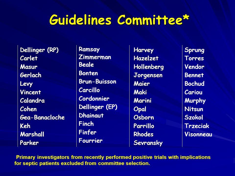 Guidelines Committee* Dellinger (RP) CarletMasurGerlachLevyVincentCalandraCohenGea-BanaclocheKehMarshallParkerHarveyHazelzetHollenbergJorgensenMaierMa