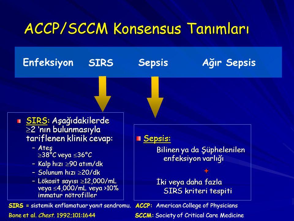 ACCP/SCCM Konsensus Tanımları SIRS: Aşağıdakilerde  2 'nın bulunmasıyla tariflenen klinik cevap: –Ateş  38°C veya  36°C –Kalp hızı  90 atım/dk –So