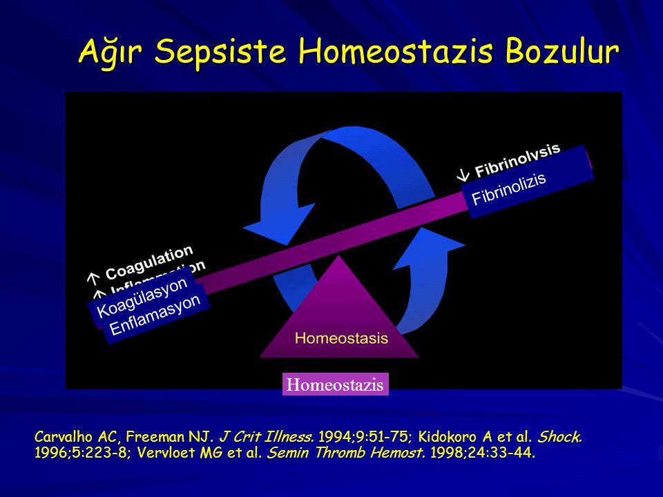 Ağır Sepsiste Homeostazis Bozulur Carvalho AC, Freeman NJ. J Crit Illness. 1994;9:51-75; Kidokoro A et al. Shock. 1996;5:223-8; Vervloet MG et al. Sem