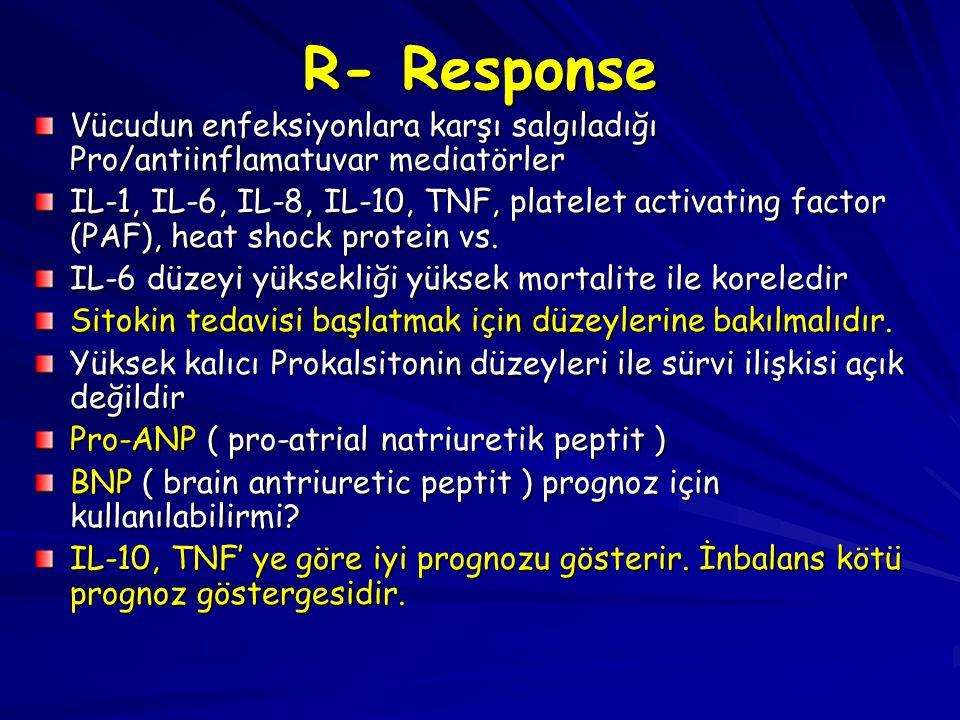 R- Response Vücudun enfeksiyonlara karşı salgıladığı Pro/antiinflamatuvar mediatörler IL-1, IL-6, IL-8, IL-10, TNF, platelet activating factor (PAF),