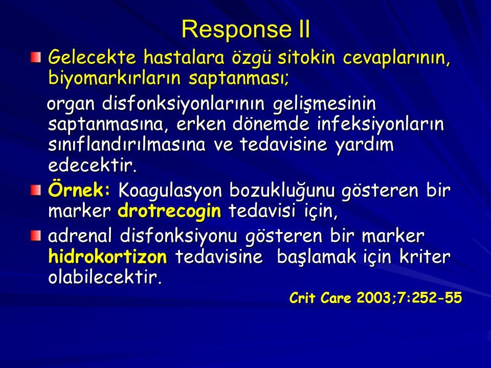 Response II Gelecekte hastalara özgü sitokin cevaplarının, biyomarkırların saptanması; organ disfonksiyonlarının gelişmesinin saptanmasına, erken döne