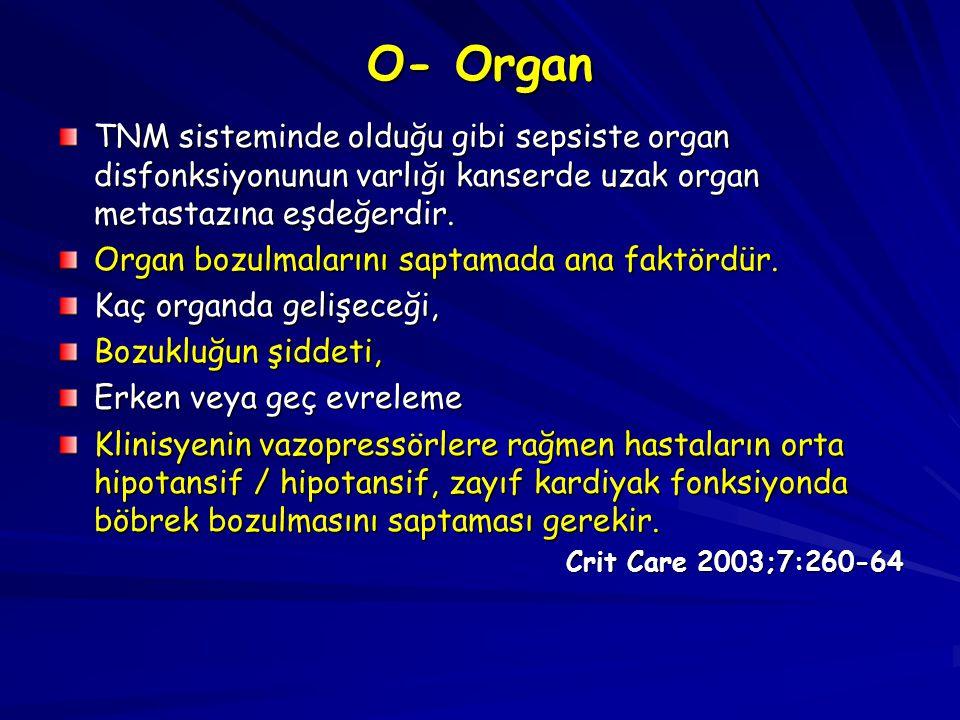 O- Organ TNM sisteminde olduğu gibi sepsiste organ disfonksiyonunun varlığı kanserde uzak organ metastazına eşdeğerdir. Organ bozulmalarını saptamada