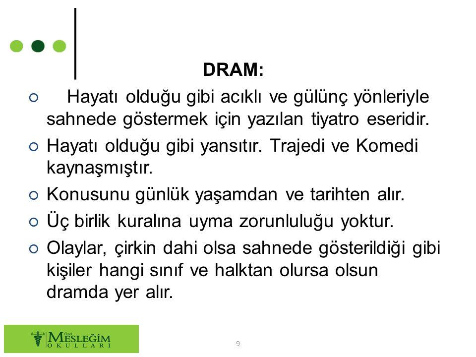 DRAM: ○ Hayatı olduğu gibi acıklı ve gülünç yönleriyle sahnede göstermek için yazılan tiyatro eseridir. ○ Hayatı olduğu gibi yansıtır. Trajedi ve Kome