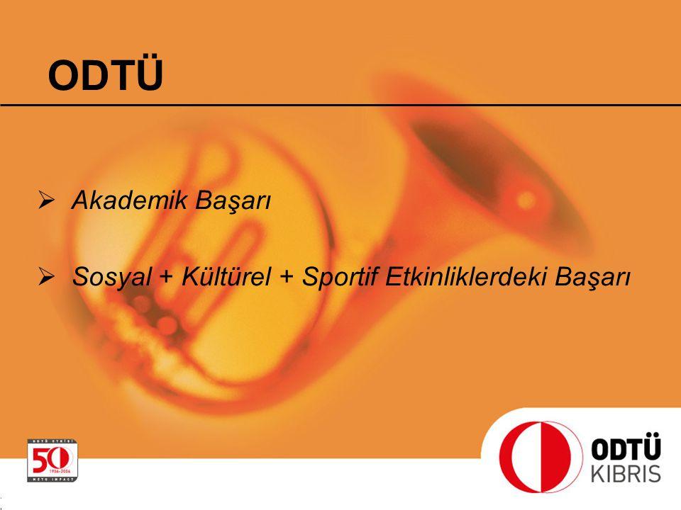  Akademik Başarı  Sosyal + Kültürel + Sportif Etkinliklerdeki Başarı ODTÜ