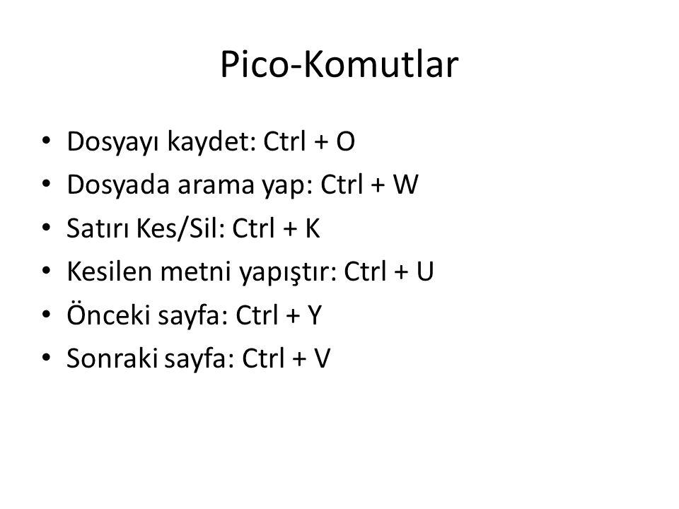 Pico-Komutlar Dosyayı kaydet: Ctrl + O Dosyada arama yap: Ctrl + W Satırı Kes/Sil: Ctrl + K Kesilen metni yapıştır: Ctrl + U Önceki sayfa: Ctrl + Y So
