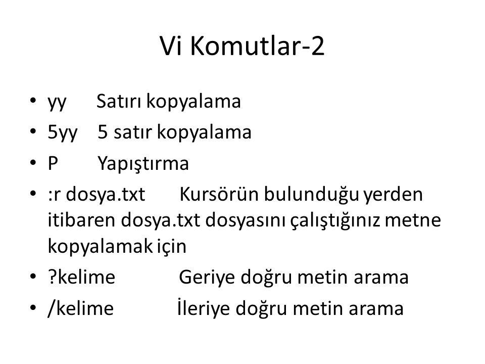 Vi Komutlar-2 yy Satırı kopyalama 5yy 5 satır kopyalama P Yapıştırma :r dosya.txt Kursörün bulunduğu yerden itibaren dosya.txt dosyasını çalıştığınız