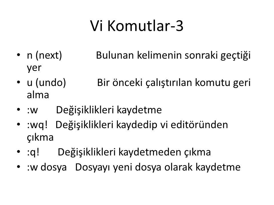 Vi Komutlar-3 n (next) Bulunan kelimenin sonraki geçtiği yer u (undo) Bir önceki çalıştırılan komutu geri alma :w Değişiklikleri kaydetme :wq! Değişik