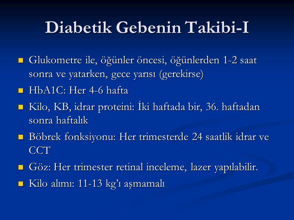 Diabetik Gebenin Takibi-I Glukometre ile, öğünler öncesi, öğünlerden 1-2 saat sonra ve yatarken, gece yarısı (gerekirse) Glukometre ile, öğünler öncesi, öğünlerden 1-2 saat sonra ve yatarken, gece yarısı (gerekirse) HbA1C: Her 4-6 hafta HbA1C: Her 4-6 hafta Kilo, KB, idrar proteini: İki haftada bir, 36.