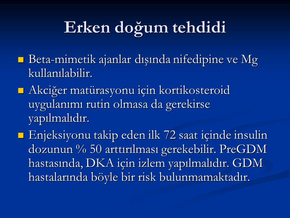 Erken doğum tehdidi Beta-mimetik ajanlar dışında nifedipine ve Mg kullanılabilir. Beta-mimetik ajanlar dışında nifedipine ve Mg kullanılabilir. Akciğe