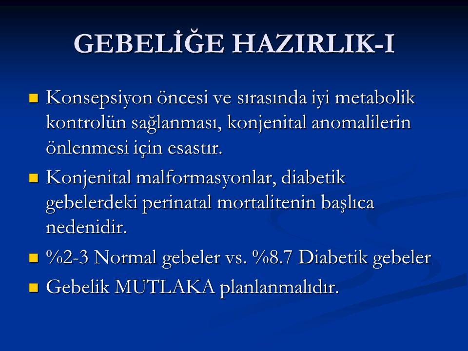 GEBELİĞE HAZIRLIK-I Konsepsiyon öncesi ve sırasında iyi metabolik kontrolün sağlanması, konjenital anomalilerin önlenmesi için esastır.
