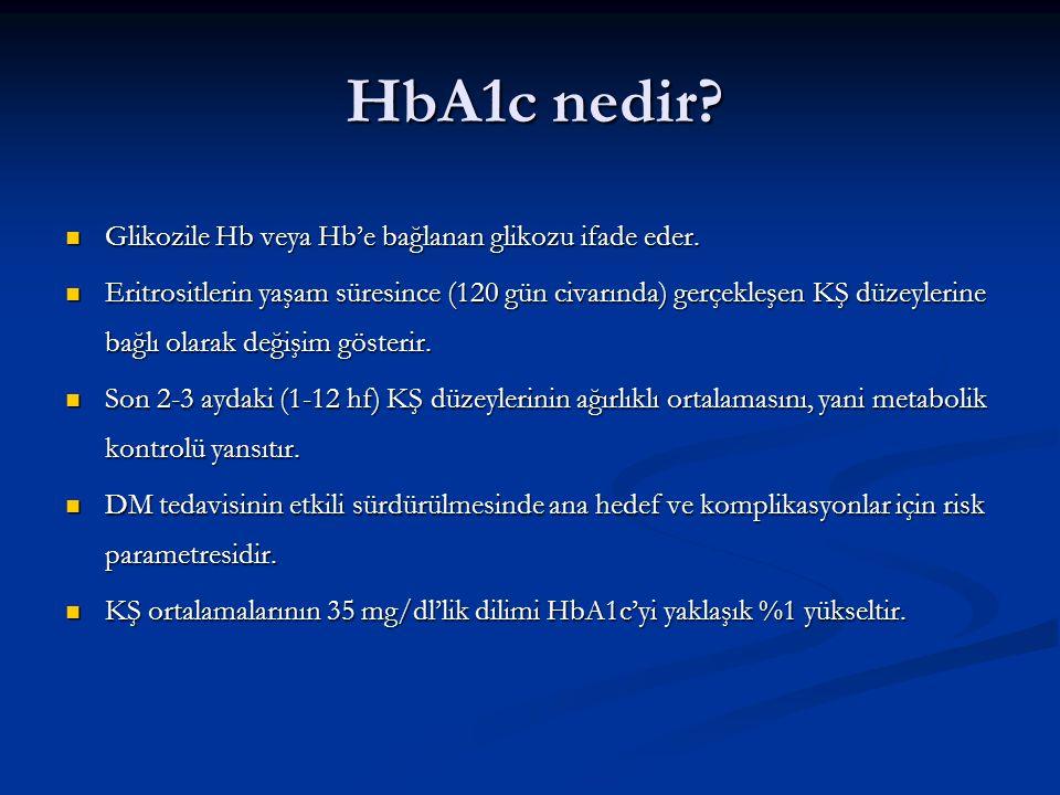HbA1c nedir? Glikozile Hb veya Hb'e bağlanan glikozu ifade eder. Glikozile Hb veya Hb'e bağlanan glikozu ifade eder. Eritrositlerin yaşam süresince (1