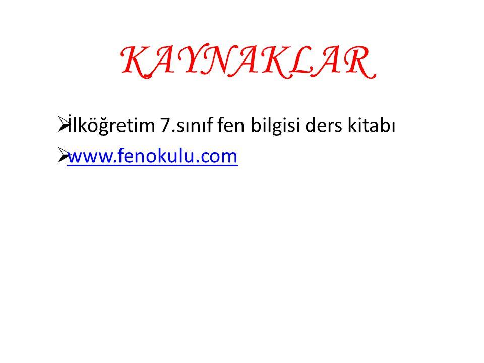 KAYNAKLAR  İlköğretim 7.sınıf fen bilgisi ders kitabı  www.fenokulu.com www.fenokulu.com