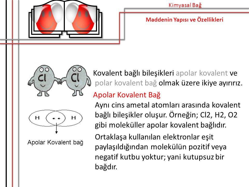 Kovalent bağlı bileşikleri apolar kovalent ve polar kovalent bağ olmak üzere ikiye ayırırız.