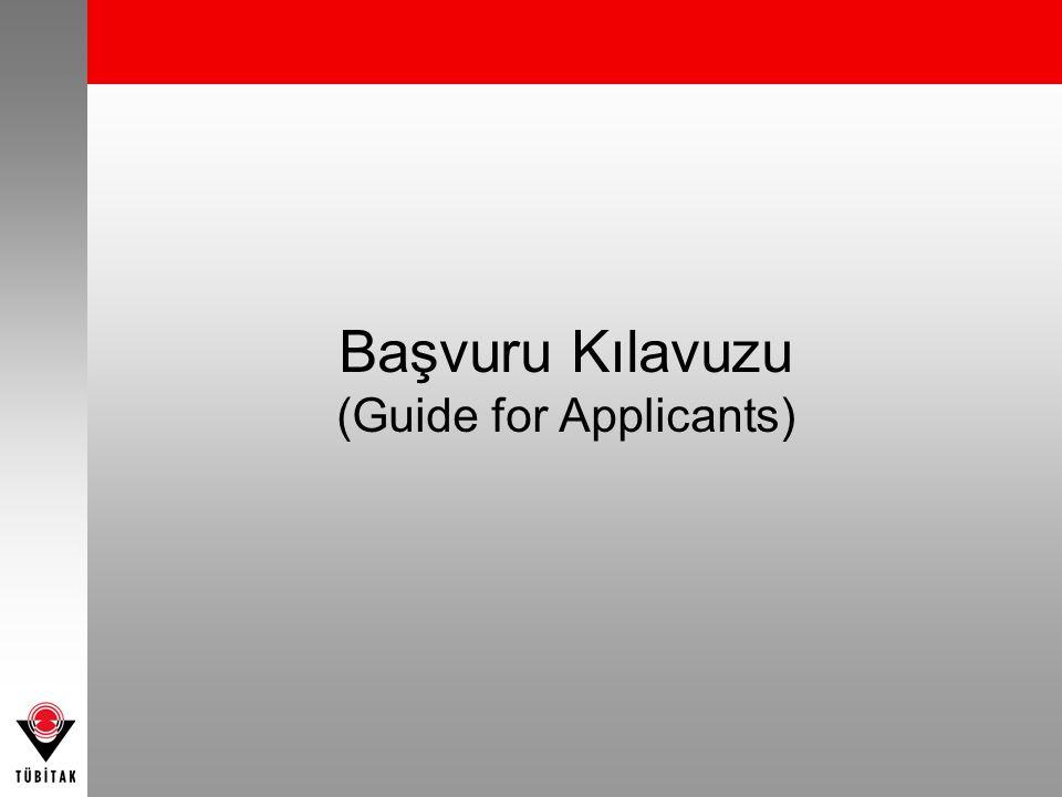 Başvuru Kılavuzu (Guide for Applicants)