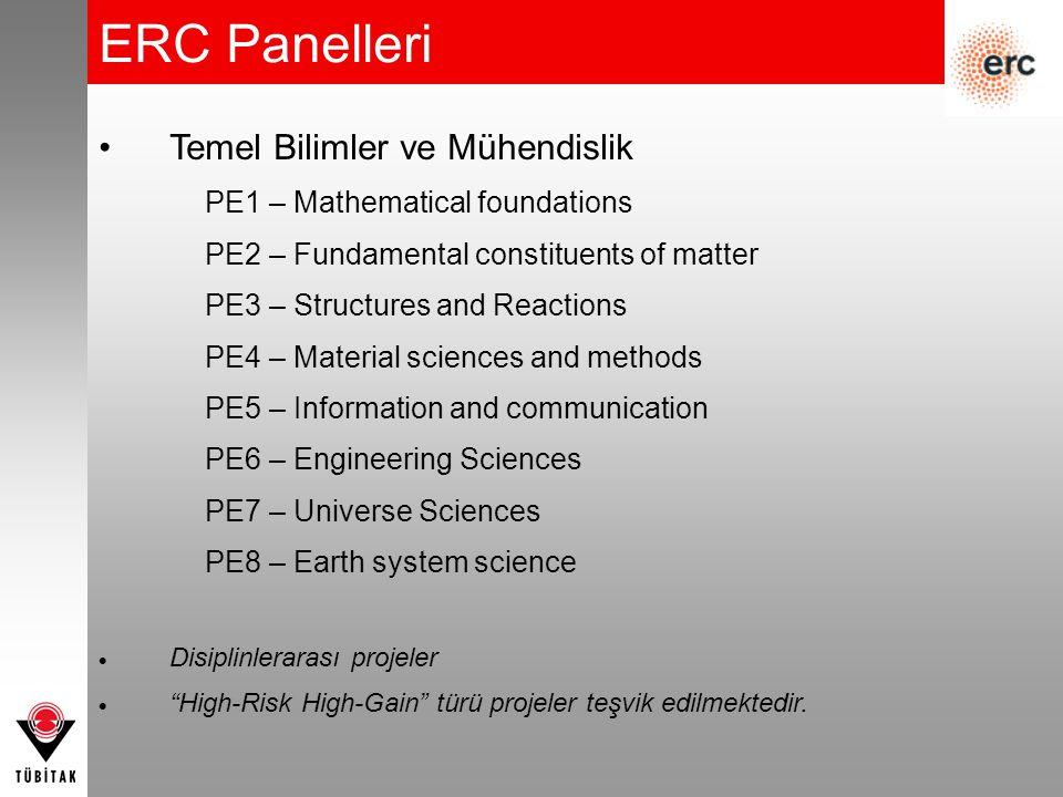 ERC Panelleri Temel Bilimler ve Mühendislik PE1 – Mathematical foundations PE2 – Fundamental constituents of matter PE3 – Structures and Reactions PE4