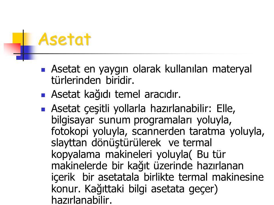 Asetat Asetat en yaygın olarak kullanılan materyal türlerinden biridir. Asetat kağıdı temel aracıdır. Asetat çeşitli yollarla hazırlanabilir: Elle, bi