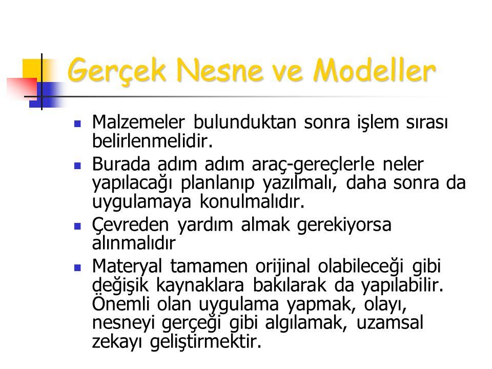 Gerçek Nesne ve Modeller Malzemeler bulunduktan sonra işlem sırası belirlenmelidir.