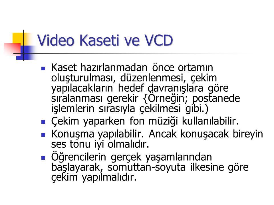 Video Kaseti ve VCD Kaset hazırlanmadan önce ortamın oluşturulması, düzenlenmesi, çekim yapılacakların hedef davranışlara göre sıralanması gerekir {Örneğin; postanede işlemlerin sırasıyla çekilmesi gibi.) Çekim yaparken fon müziği kullanılabilir.