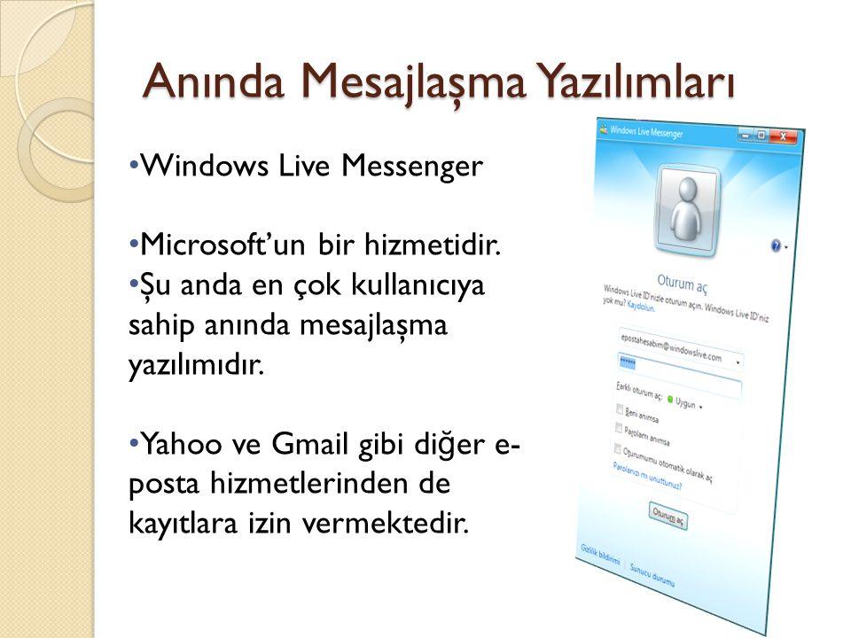 Anında Mesajlaşma Yazılımları Windows Live Messenger Microsoft'un bir hizmetidir. Şu anda en çok kullanıcıya sahip anında mesajlaşma yazılımıdır. Yaho