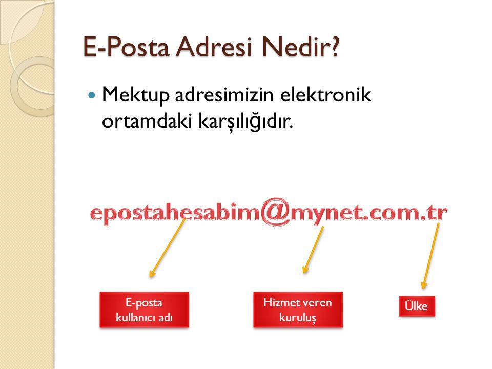 E-Posta Adresi Nedir? Mektup adresimizin elektronik ortamdaki karşılı ğ ıdır. E-posta kullanıcı adı Hizmet veren kuruluş Ülke