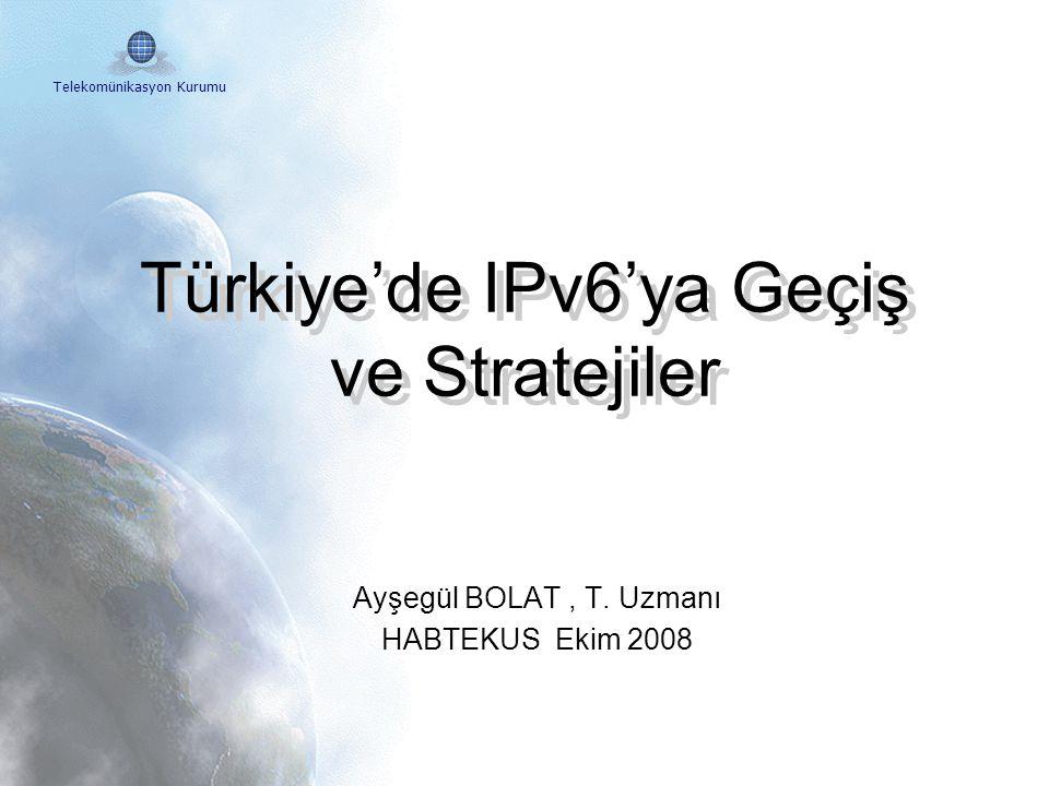 Telekomünikasyon Kurumu IPv6 Forum Türkiye Çalışma Gurupları Ekonomik Çalışma Grubu Eğitim Çalışma Grubu Teknik Çalışma Grubu İdari Çalışma Grubu Sekreterya IPv6 İcra Kurulu (Kamu, Sanayi ve Üniversiteler) Başkan (TK) Uluslarası Bağlantılar (Dünya IPv6 Forum) Avrasya Çalışma Grupları