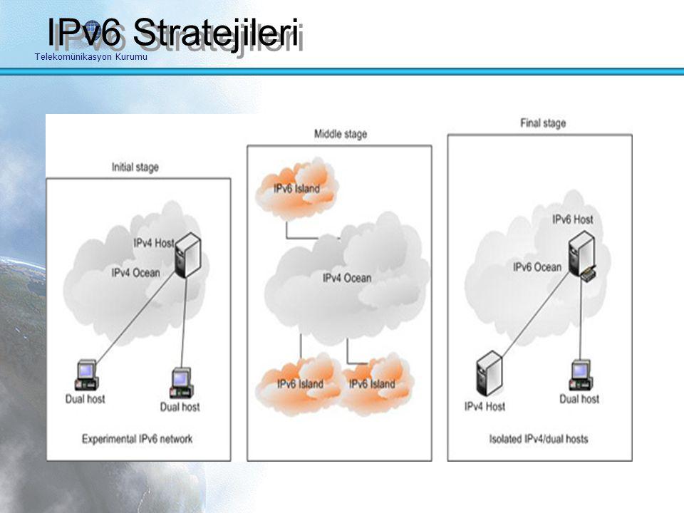 Telekomünikasyon Kurumu IPv6 Geçiş Stratejileri IPv4'ten IPv6'ya Geçiş Planı ve Aşamaları Bilinçlendirme kampanyaları Eğitim IPv6 bağlantısı Adres pla
