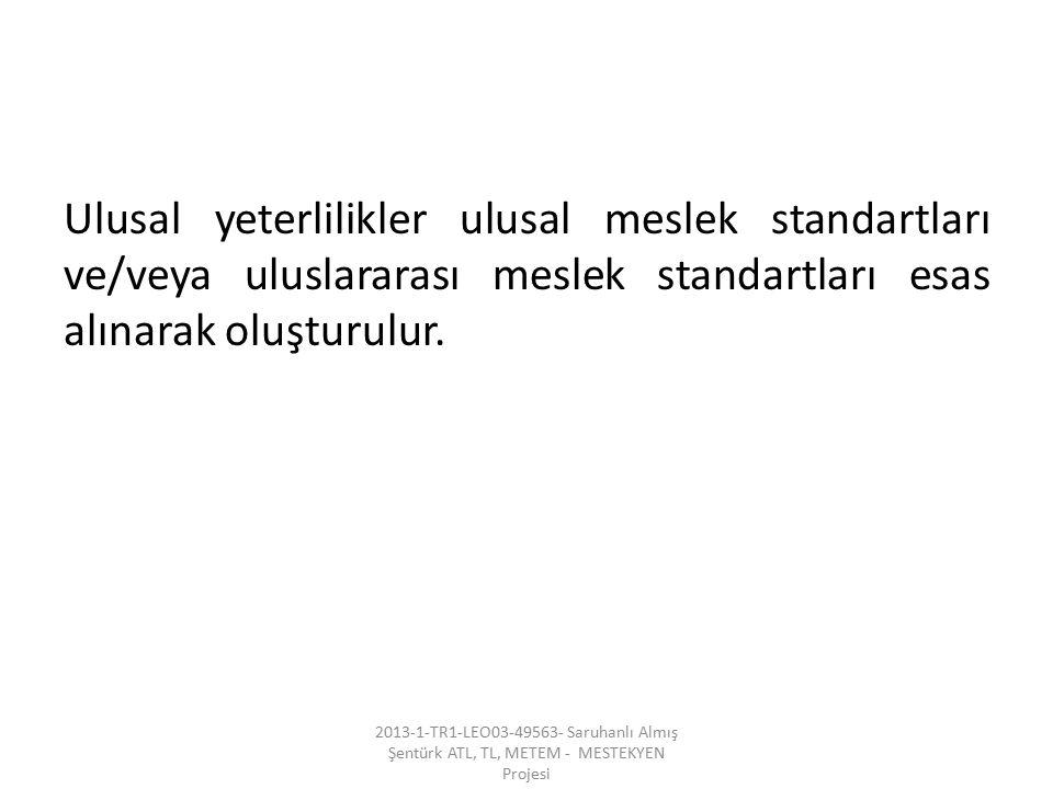Ulusal yeterlilikler ulusal meslek standartları ve/veya uluslararası meslek standartları esas alınarak oluşturulur.