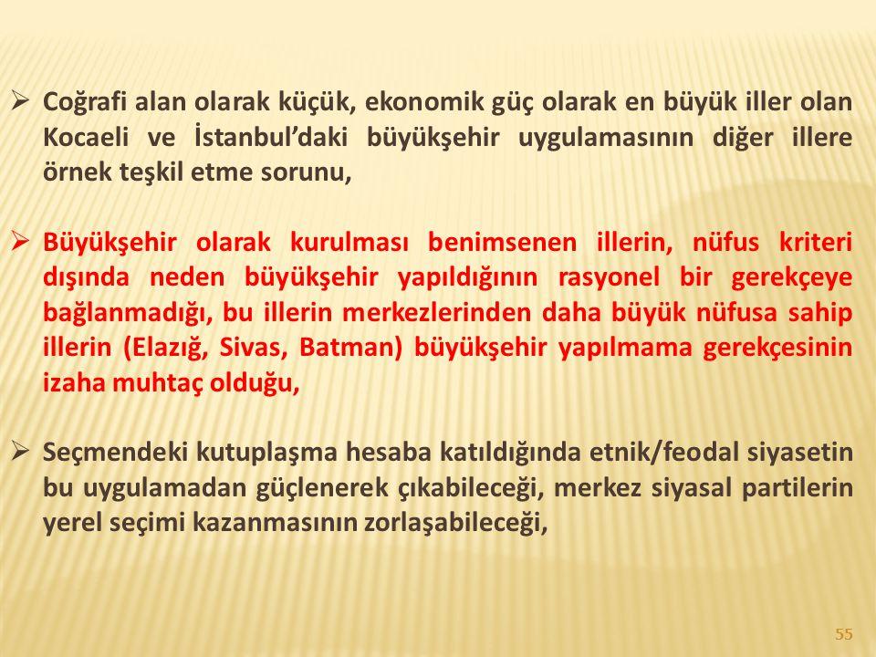  Coğrafi alan olarak küçük, ekonomik güç olarak en büyük iller olan Kocaeli ve İstanbul'daki büyükşehir uygulamasının diğer illere örnek teşkil etme