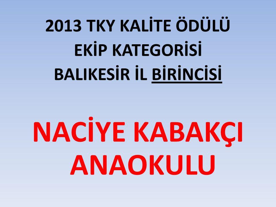 2013 TKY KALİTE ÖDÜLÜ EKİP KATEGORİSİ BALIKESİR İL BİRİNCİSİ NACİYE KABAKÇI ANAOKULU