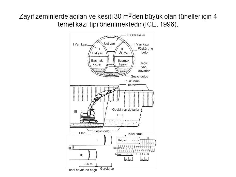 Zayıf zeminlerde açılan ve kesiti 30 m 2' den büyük olan tüneller için 4 temel kazı tipi önerilmektedir (ICE, 1996).