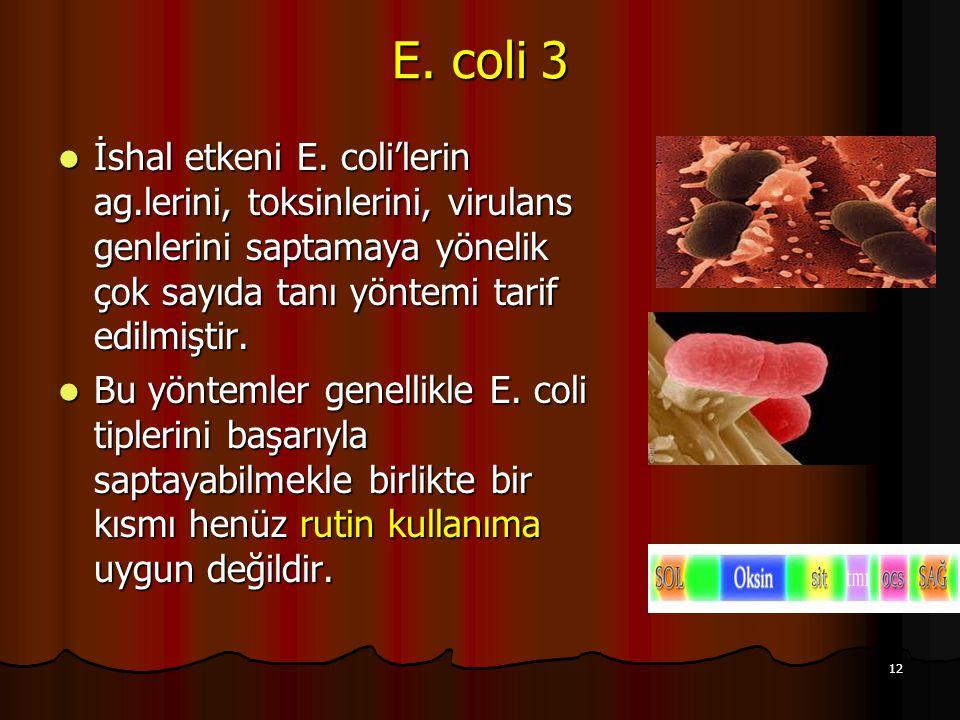 12 E. coli 3 İshal etkeni E. coli'lerin ag.lerini, toksinlerini, virulans genlerini saptamaya yönelik çok sayıda tanı yöntemi tarif edilmiştir. İshal