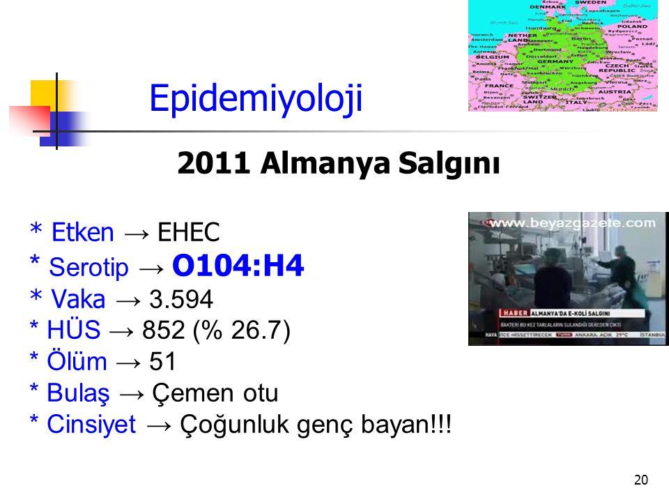 20 Epidemiyoloji 2011 Almanya Salgını * Etken → EHEC * Serotip → O104:H4 * Vaka → 3.594 * HÜS → 852 (% 26.7) * Ölüm → 51 * Bulaş → Çemen otu * Cinsiye