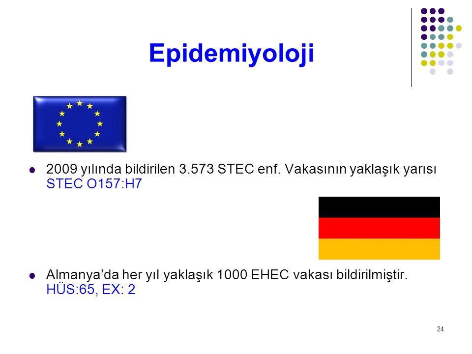 24 2009 yılında bildirilen 3.573 STEC enf. Vakasının yaklaşık yarısı STEC O157:H7 Almanya'da her yıl yaklaşık 1000 EHEC vakası bildirilmiştir. HÜS:65,