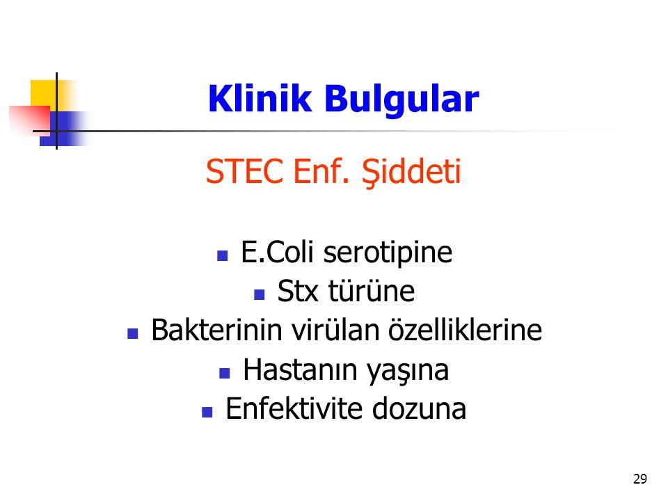 29 STEC Enf. Şiddeti E.Coli serotipine Stx türüne Bakterinin virülan özelliklerine Hastanın yaşına Enfektivite dozuna Klinik Bulgular
