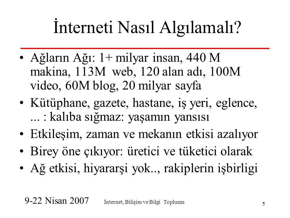 İnternet, Bilişim ve Bilgi Toplumu 16 Bilişim Sektörü için: Yatay rolu çok önemli Yatay için de gelişmesi gerekir Tutarlı politikalar gerekli-sistem yaklaşımı Bilişim-internet olmazsa olmaz koşuldur Ama, Tek başına yetmez: tutarlı ulusal...