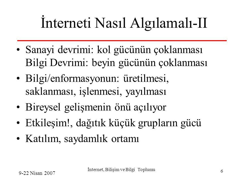 İnternet, Bilişim ve Bilgi Toplumu 17 Katılım, Demokrasi ve İnternet Anti-global hareket interneti çok etkin...