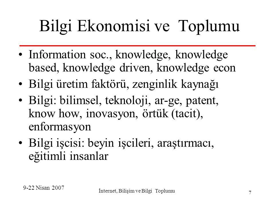 İnternet, Bilişim ve Bilgi Toplumu 8 Bilgi Ekonomisi/Toplumu-II Bilgiye erişebilen, kullanan, işleyen ve Bilgi Üreten.
