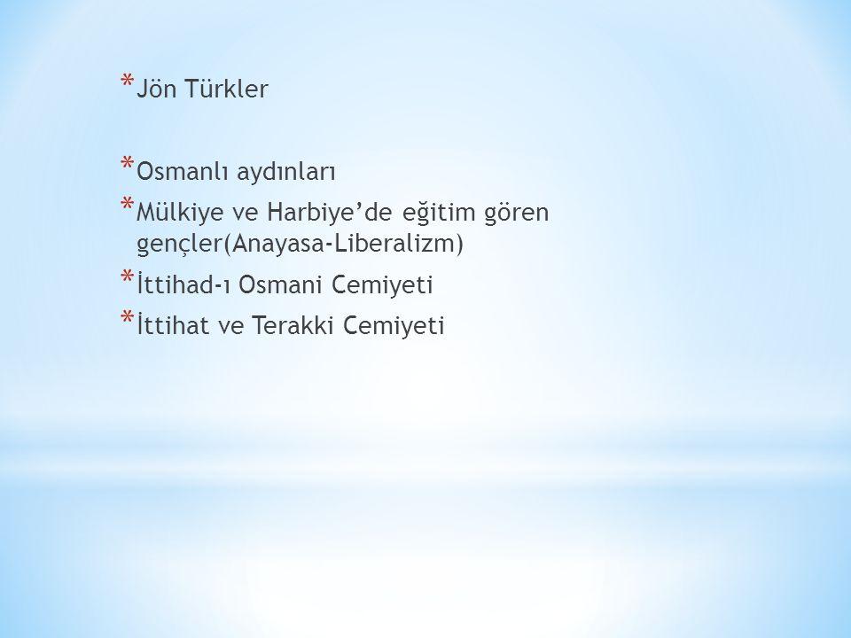 * Jön Türkler * Osmanlı aydınları * Mülkiye ve Harbiye'de eğitim gören gençler(Anayasa-Liberalizm) * İttihad-ı Osmani Cemiyeti * İttihat ve Terakki Cemiyeti